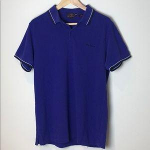 Ben Sherman Polo Shirt Purple Black Size XL